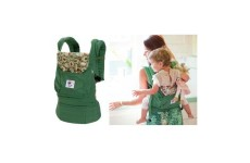 Эргономичный слинг — рюкзак ERGO Baby Organic зеленый с цветным капюшоном